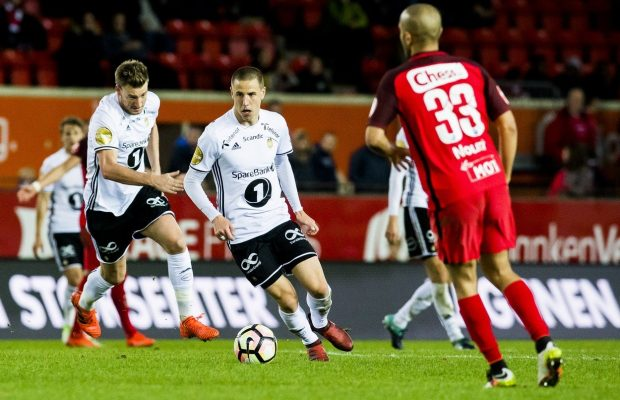 October 22, 2017 - Bergen, NORWAY - 171022 Nicklas Bendtner and Milan Jevtovic of Rosenborg and Amin Mimoun Nouri of Brann during the Eliteserien match between Brann and Rosenborg on October 22, 2017 in Molde. .Photo: Fredrik Varfjell / BILDBYRÃ…N / kod FV / 150034, Image: 353638904, License: Rights-managed, Restrictions: * Austria, France, Holland, Norway, Sweden and Switzerland Rights OUT *, Model Release: no, Credit line: Profimedia, Zuma Press - News