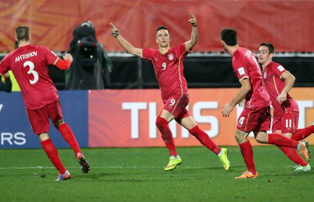 Serbia's Stanisa Mandic (C) celebrates his goal during the FIFA Under-20 World Cup football final match between Brazil and Serbia in Auckland on June 20, 2015. , Image: 250460817, License: Rights-managed, Restrictions: , Model Release: no, Credit line: Profimedia, AFP